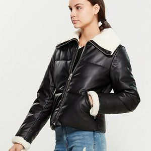 Levi's Breanna Sherpa Faux Leather Puffer Jacket